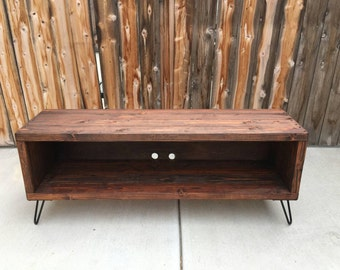 Honey colored media console  entertainment center : rustic, vintage, reclaimed console stand, tv furniture