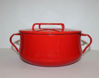 Vintage Red Enamel  Kobenstyle Dansk Pot with Lid-Danish - Mid Century