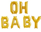 """OH BABY gold balloon letter kit 16"""".  Gold mylar letter balloons.  Baby shower garland.  Baby shower balloons.  Gender reveal party balloon."""