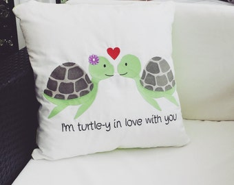 Embroidered 'I'm turtle-y in love with you' Cushion