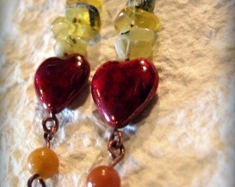 Heart earrings in czeck glass