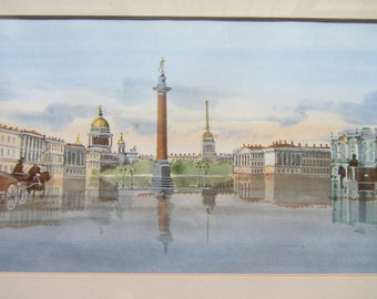 Vintage watercolour painting. Continental city in France? Italy? Antique scene