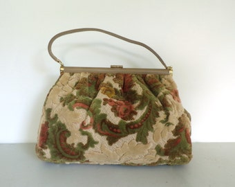 Vintage 60s Fuzzy Tapestry Floral Handbag, Leather & Tapestry Purse, Orange Green Cream Flowered Purse, Carpet Bag Purse, Autumn Colors