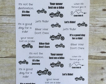 Motorcycle Rider Biker Quotes Planner Stickers F289