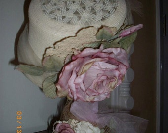 Vintage Hat with Silk Roses on Stand