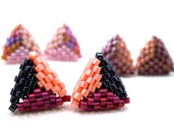 Triangle earrings in claret & Rosa or in the colour of your choice! (free shipping)
