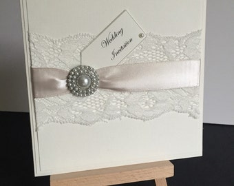 Pocketfold Wedding invitation Lauri wedding stationery with lace detail