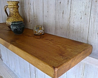 "Floating Shelves, Wall Shelves, Pine Wood  - 9"" Deep - 1ft - 6ft - Old Pine Natural Wax ..."