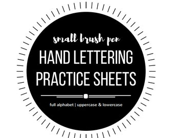 Small Hand Lettering Practice Sheets - Hand Lettering Worksheets - Faux Calligraphy Worksheets - Full Alphabet - Upper and Lowercase