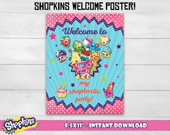 "Shopkins welcome poster! Shopkins welcome sign, Shopkins welcome print. 8.5x11"" digital file!"