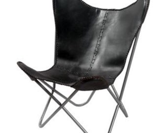 Hand made Butterfly chair , leather chair -rich dak black
