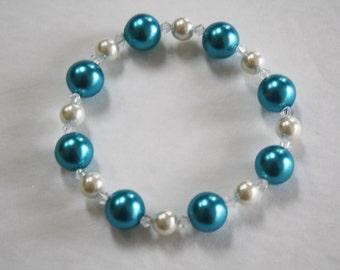 Aqua and White Pearl Beaded Bracelet, Aqua Pearls, White Pearls, Aqua and White pearls