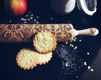 FOLK rolling pin, embossing rolling pin, engraved rolling pin by laser