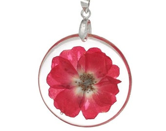 1 Red Flower Pendant Real Flowers Round Charm 44mm Jewelry Making Supplies - 22Q