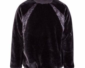 Black faux fur jumper