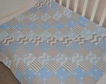 Baby Quilt, Grey Blue Baby Patchwork cot or buggy Quilt, Handmade Baby Quilt, Baby Buggy Quilt, Baby Blanket Grey Blue, Baby Boy Quilt Blue