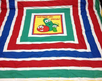 "God Made You Special !"" Veggie Tales Handmade Twin Quilt"