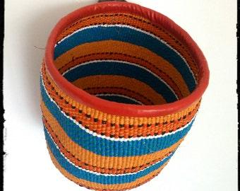 Handwoven bag made using plastic bags