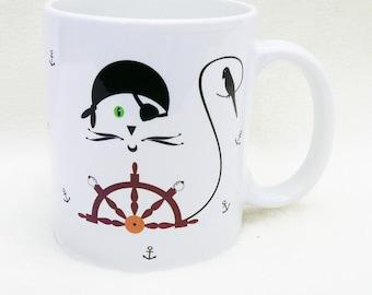 Mug, cat mug, coffee mug, funny mugs, custom mug, personalize mug, ceramic mug, tea cup, cup, personalized cup, coffee cup, pirate, ChatMage