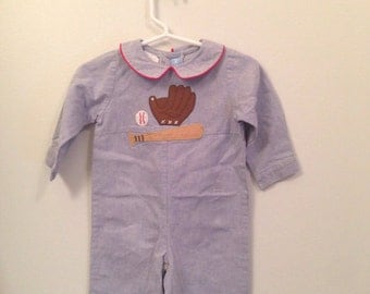 6 month, Vintage baby clothes, blue long sleeve long all with baseball detail on chest and red piping on collar