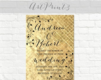 Printable Wedding Invitation, Vintage Wedding Invitation Printable, Gold Wedding Invitation Printable, Elegant Wedding Invite Printable