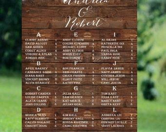 Rustic Wedding Printable Seating Chart,Barn Wood Printable Seating Chart,String Lights Wedding Seating Chart,Printable Wedding Seating Chart
