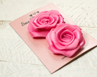 Rosette Flower Hair Clips