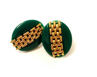 Funky Green Vintage Earrings with Gold