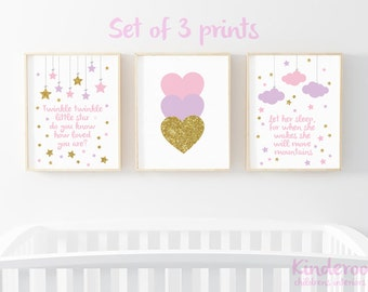 Pink, Purple and Gold Glitter Set    Baby Girls Nursery   Star, Heart and Cloud Prints   Set of 3