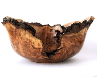 Natural Edge Maple Burl Wood Bowl-Large-Hand Turned-Wedding Gift-Centre Piece-Kitchen Gourmet