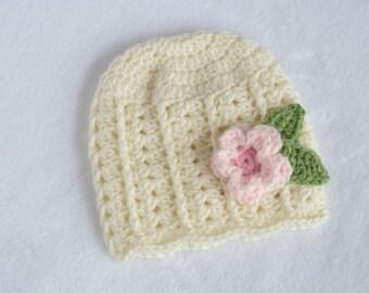 SALE!  Ready to Ship!  0-3 Month Crochet Beanie, Crochet Hat, Elegant Flapper Beanie, Baby Girl Hat