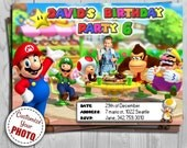 Super Mario Invitation - Nintendo themed Birthday Invite from Super Mario Party - Customizable with Photo and FREE Thank You Card!