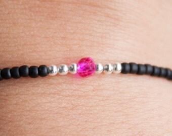 Seed bead bracelet, Black bracelet, stack bracelet, delicate bracelet, Ibiza bracelets boho bracelet, friendship bracelet, bridesmaids gift