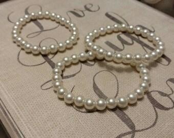 White Pearl Beaded Bracelets, Set of 3