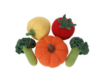 Crochet Play Food Set(5pcs)- Crochet Veggies Play Pretend Food Crocheted Vegetables Kitchen Decor Montessori Toys Play Food