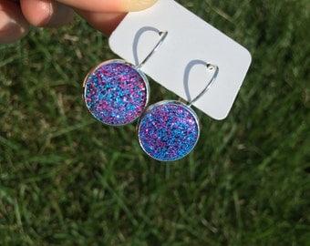 Earrings, Shine earrings, Multi-color earrings, Blue Earrings, Pink earrings, Silver earrings