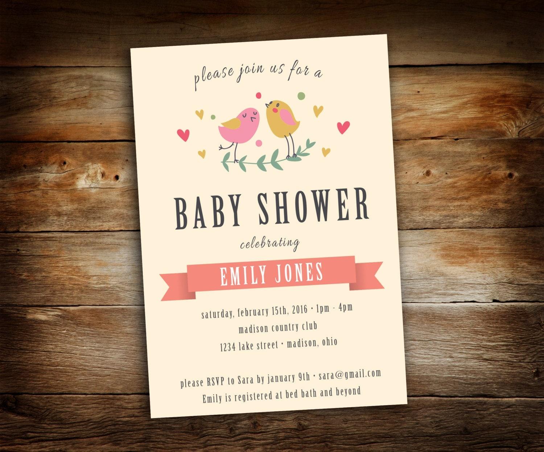 baby shower invitation bird theme baby shower pink girl