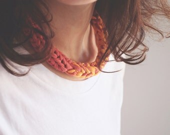 Braided necklace//pink and yellow melon//necklace//cotton jersey Fabric/recycling/braid//contemporary jewellery