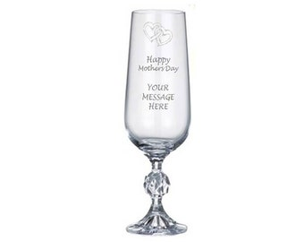 Personalised Engraved Mothers Day Crystal Champagne Glass