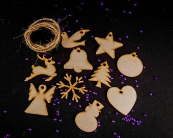 Wooden Christmas Tree decoration for craft embellishments hanging shapes MDF