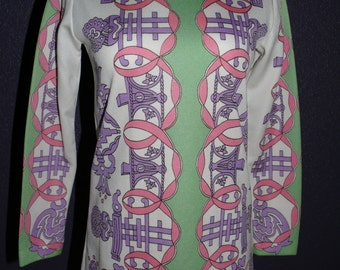 1960s tunic; pink, green, purple, white; size 6/8