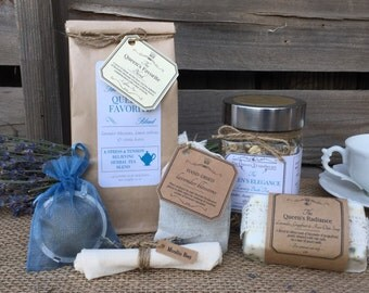 The Queen's Favorite Tea & Bath Collection with Loose Leaf Tea, Tea Ball, Handmade Soap, Bath Tea with Muslin Bag and Lavender Sachet