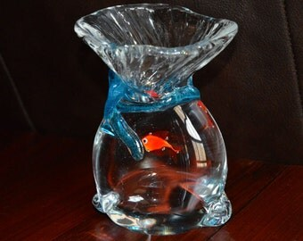 """Vintage Murano Fish in a Bag Paperweight 5.5"""" Tall"""