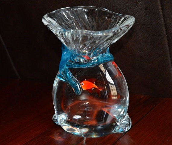 Vintage murano fish in a bag paperweight 5 5 tall for Fish in a bag