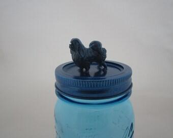 Blue Sparkly Pekinese Dog Jar