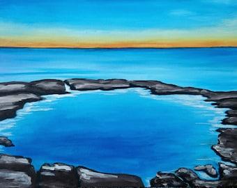 Acrylic painting rock pool on canvas Tasmanian art by Mel Andrewartha