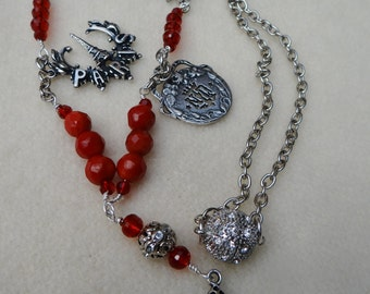 Red French Inspired Assemblage Necklace - NRU236
