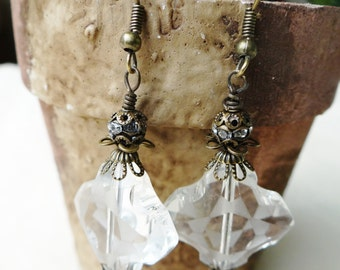 Edwardian Style Antiqued Brass Capped Frosted Crystal Earrings - ERU152