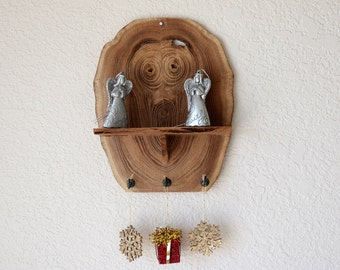 Quirky elm wood shelf with hooks.