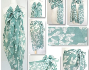 Sage Green Big & Small Butterfly, Butterflies Sarong, Pareo, Beach Cover Up, Resort Wear, Pool Wrap, Holiday Wear, Vacation, Cruise Wear,